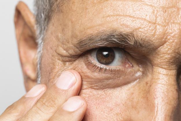 old man eyes close up