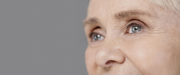 old woman eyes upclose